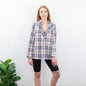 Jackets & Blazers - Plaid boxy oversized button front blazer